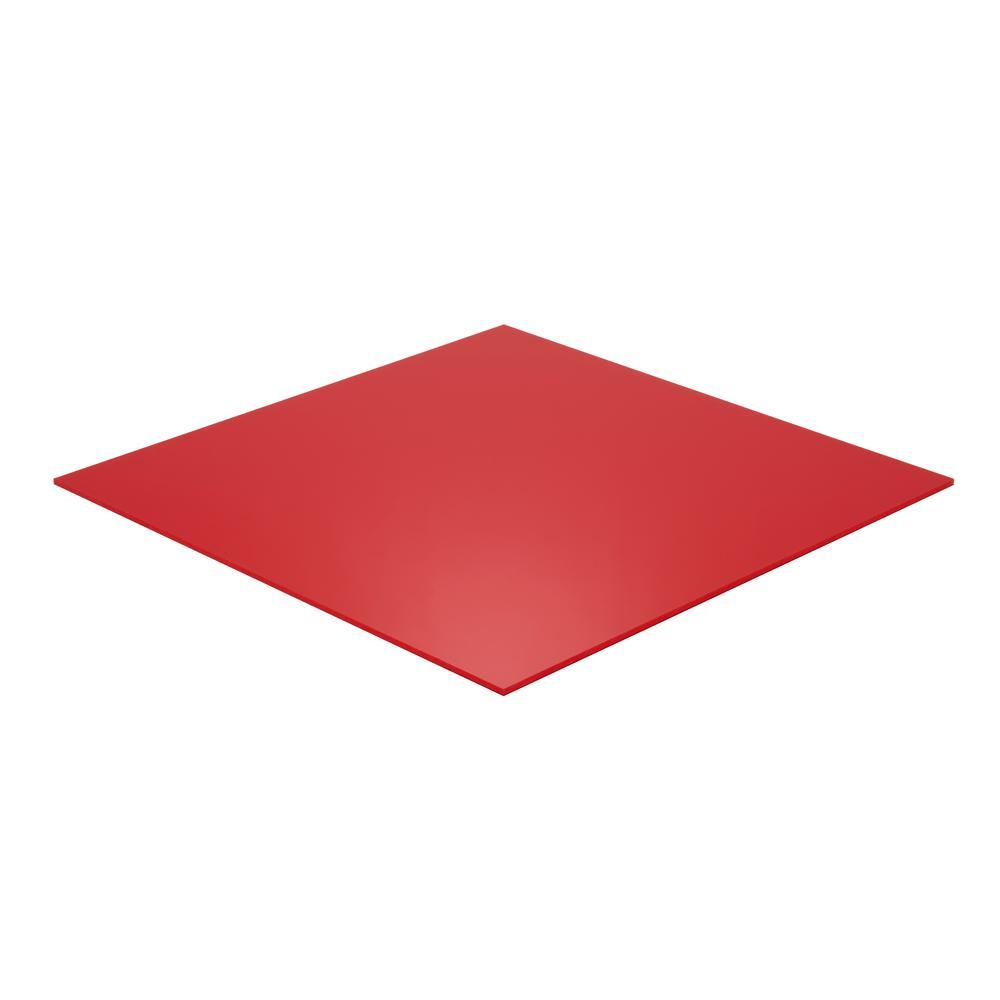 Falken Design 12 in. x 48 in. x 1/8 in. Thick Acrylic Plexiglas Lucite Red 2157 Sheet