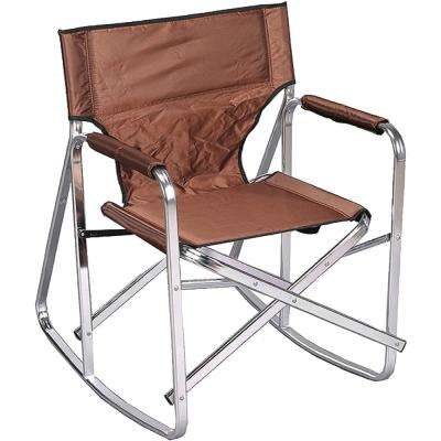 Stylish Camping Brown Full Back Folding Rocking Director's Chair