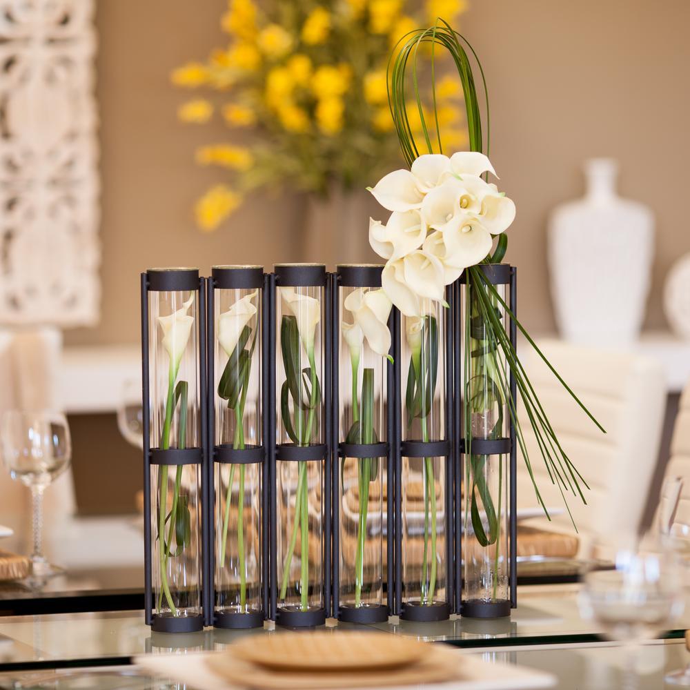 DANYA B. 16 in. Glass 2.5 in. Tube Hinged Decorative Vase...