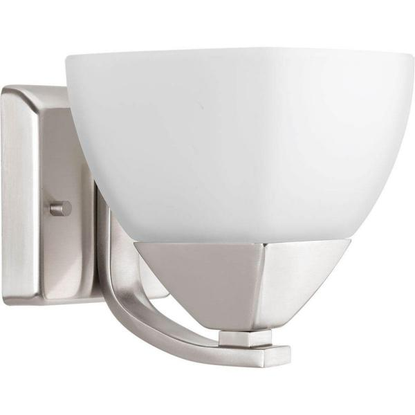 Appeal Collection 1-Light Brushed Nickel Bath Sconce with Etched White Glass Shade