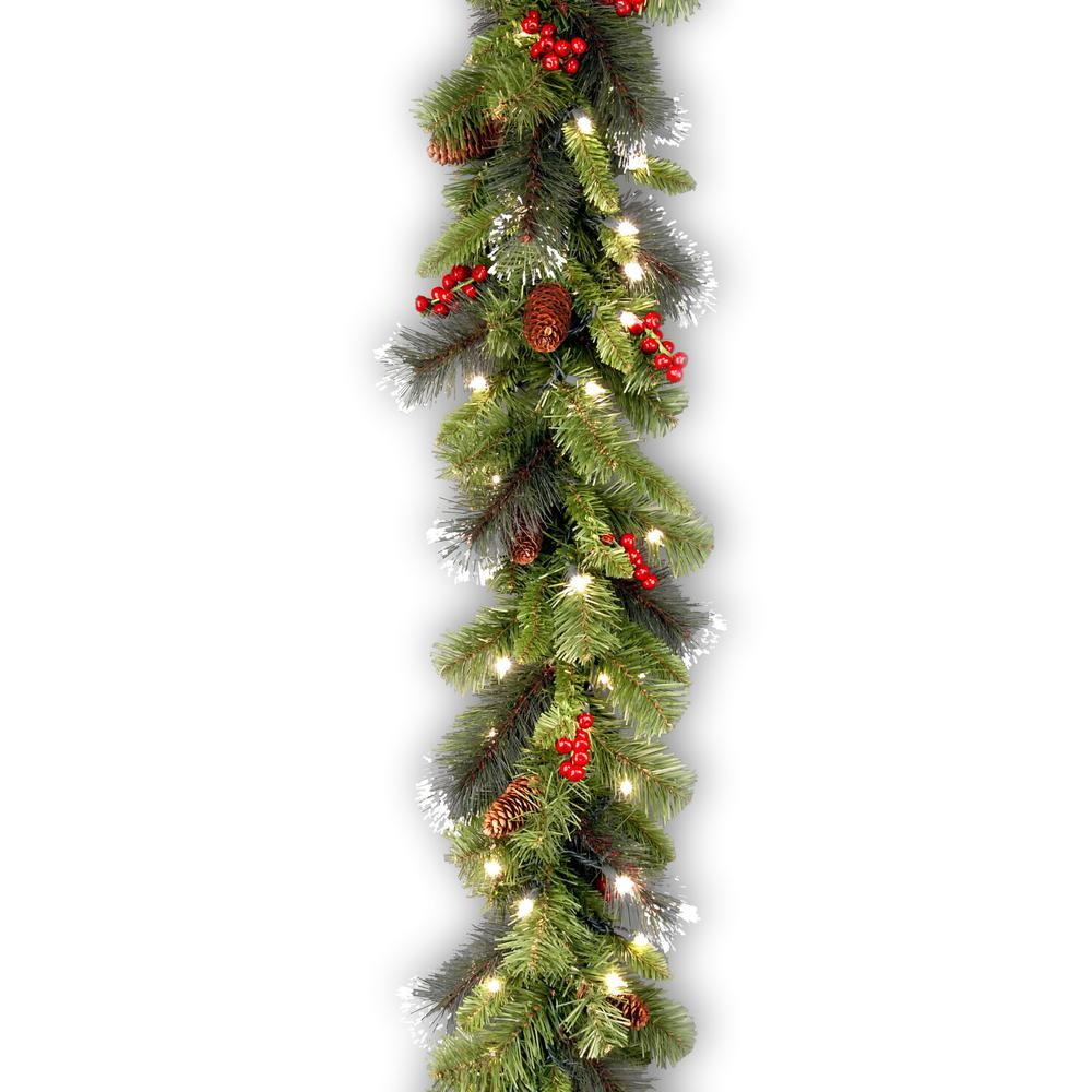 9 ft. Crestwood Spruce Garland with Battery Operated Warm White LED