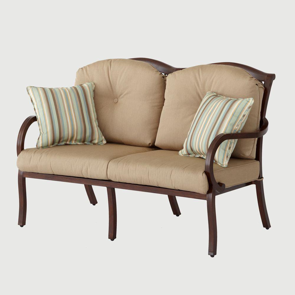 Hampton Bay Morgan Classic Patio Loveseat with Sunbrella Canvas Heather Beige Cushions-DISCONTINUED