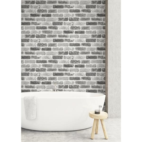 Nextwall Gray Washed Brick Vinyl Peelable Wallpaper Covers 30 75 Sq Ft Nw30510 The Home Depot