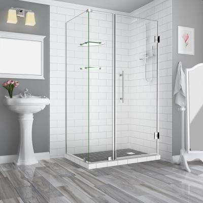 BromleyGS 40.25in.to41.25in.x34.375in.x72in. Frameless Corner Hinged Shower Enclosure w/Glass Shelves in Stainless Steel