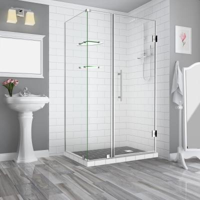 Aston Bromley Gs 41 25 To 42 25 X 38 375 X 72 In Frameless Corner Hinged Shower Enclosure W Glass Shelves In Stainless Steel Sen962ez Ss 422838 10 The Home Depot