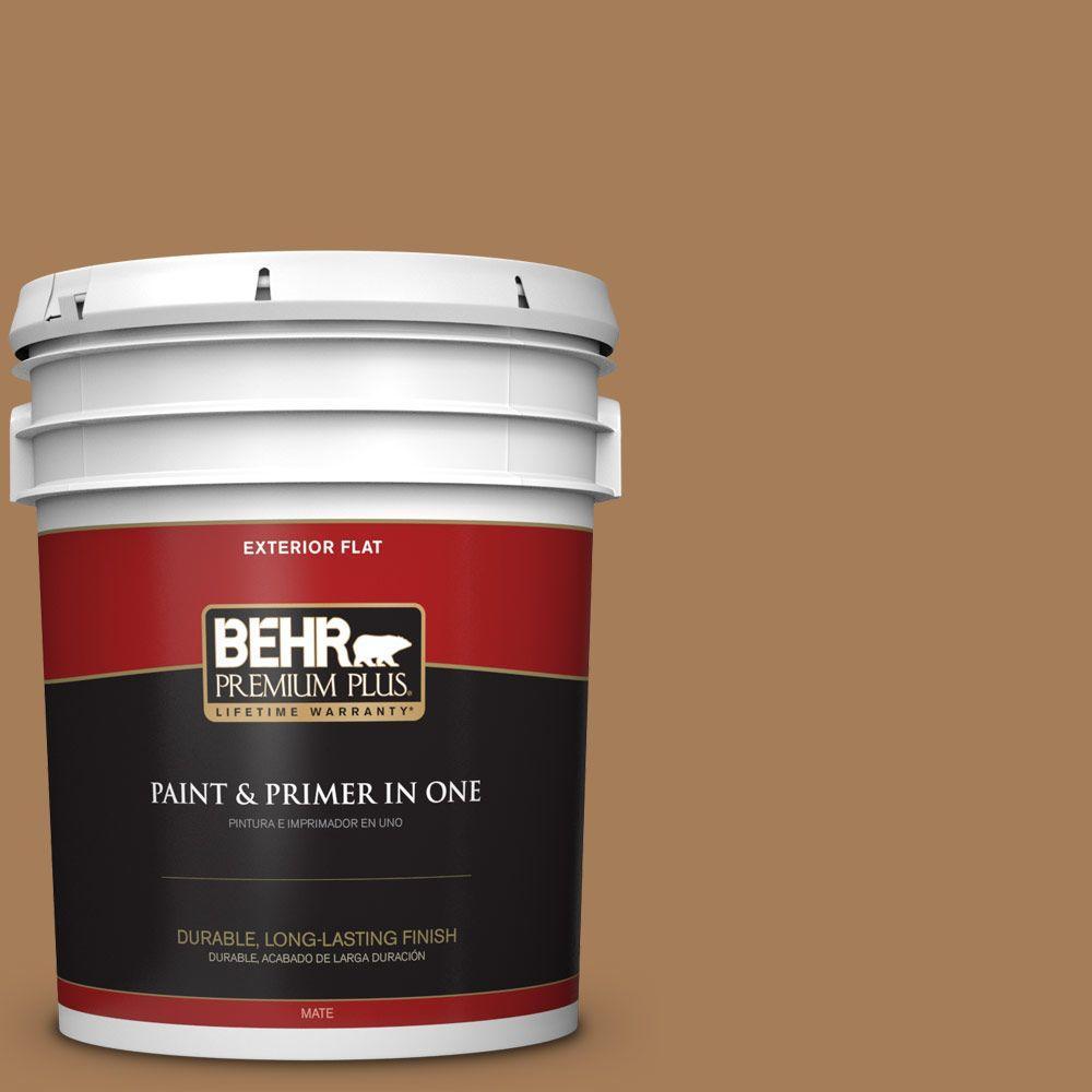 BEHR Premium Plus 5-gal. #270F-6 Fudge Truffle Flat Exterior Paint