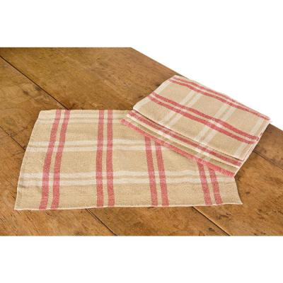 Linen Check 14 in. x 20 in. Natural Placemats (Set of 4)