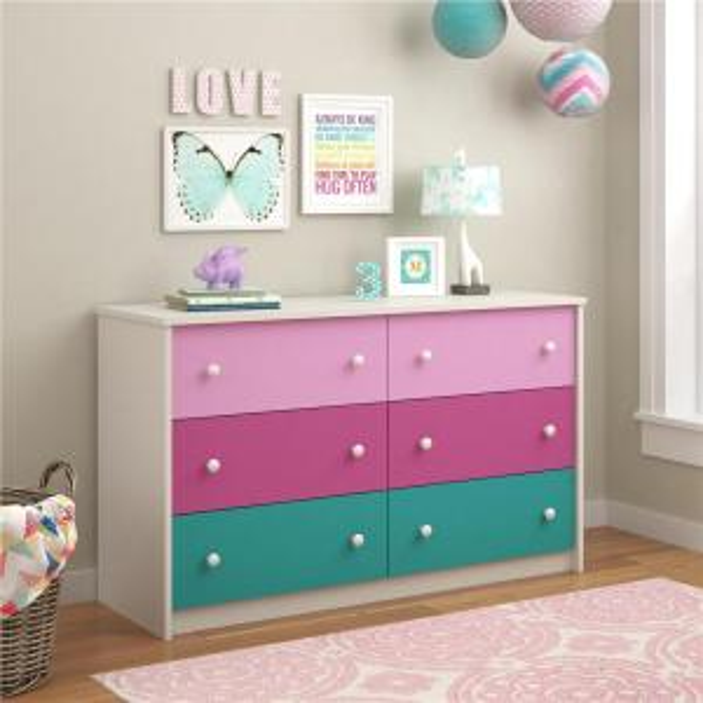 Ameriwood Kaleidoscope 6-Drawer Pink Dresser by Ameriwood