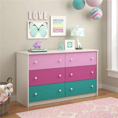 Kaleidoscope 6-Drawer Pink Dresser
