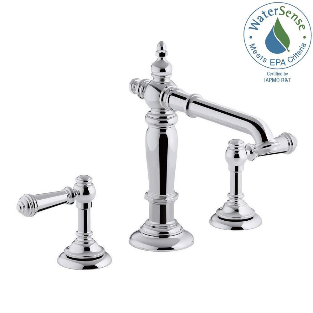 Kohler artifacts 8 in widespread 2 handle column design bathroom faucet in polished chrome with Kohler bathroom design tool