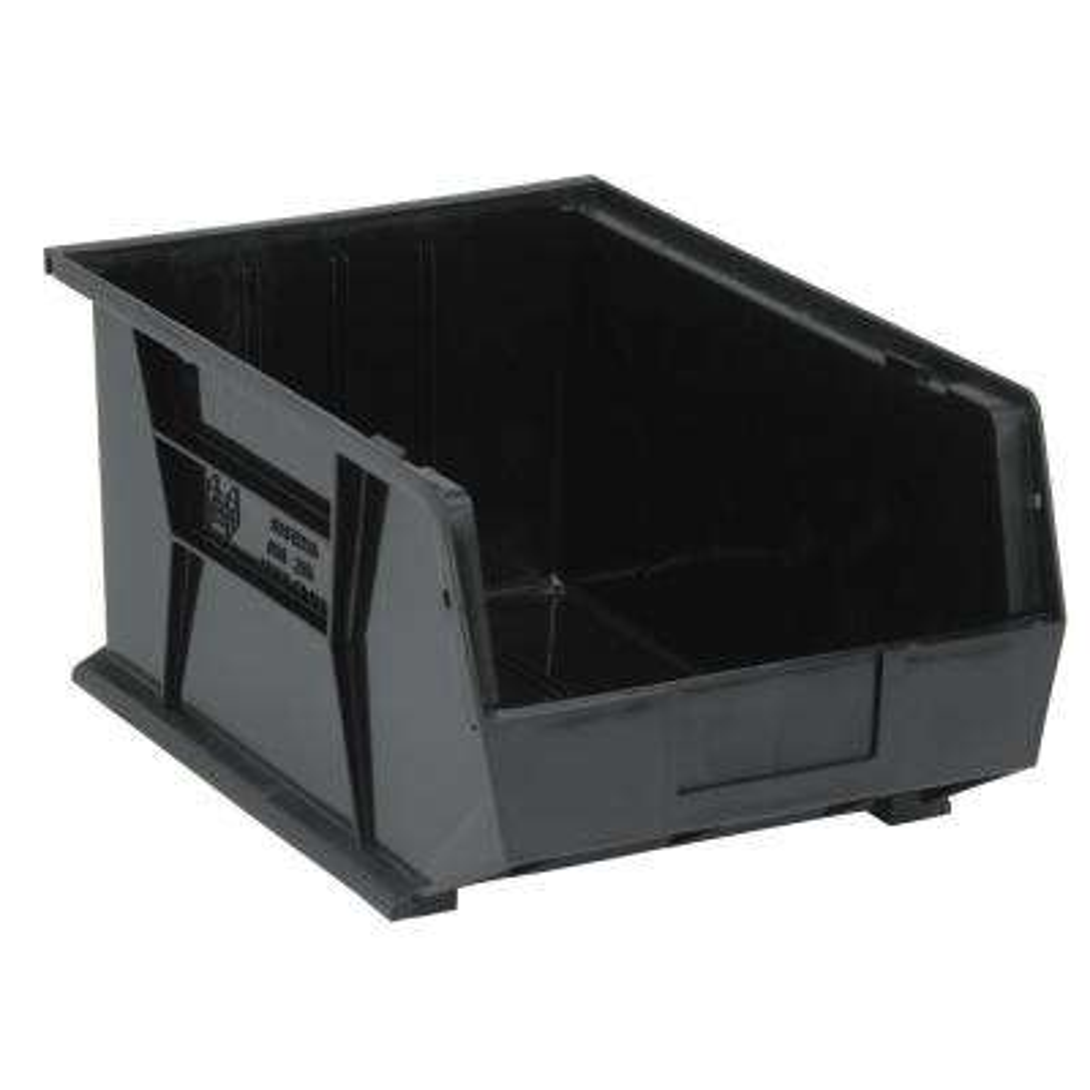Ultra Series Stack and Hang 8.9 Gal. Storage Bin in Black (4-Pack)