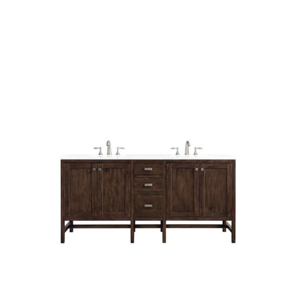 Addison 72 in. Single Bath Vanity in Mid Century Acacia with Quartz Vanity Top in Classic White with White Basin