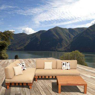 Langkawi Eucalyptus 3-Piece Patio Seating Set With Beige Cushions