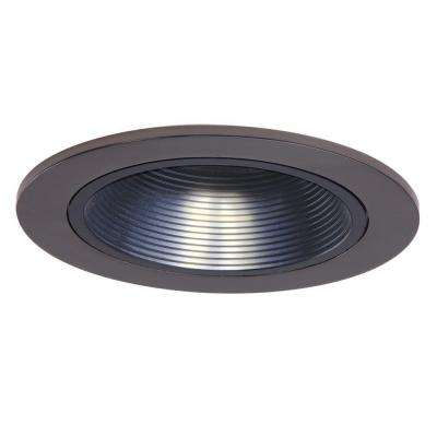 Low-Voltage 4 in. Tuscan Bronze Recessed Ceiling Light Trim with Black Coilex Baffle