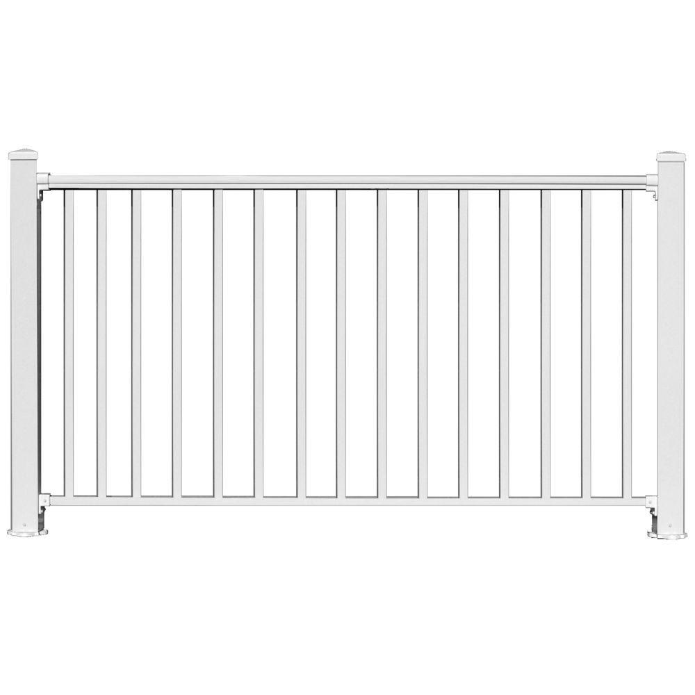 6 ft. x 54 in. White Aluminum Fence Panel Kit with 1 in. ...