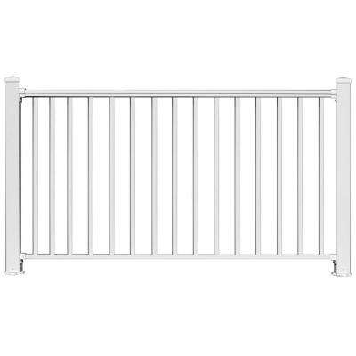 6 ft. x 54 in. White Aluminum Fence Panel Kit with 1 in. Square Baluster