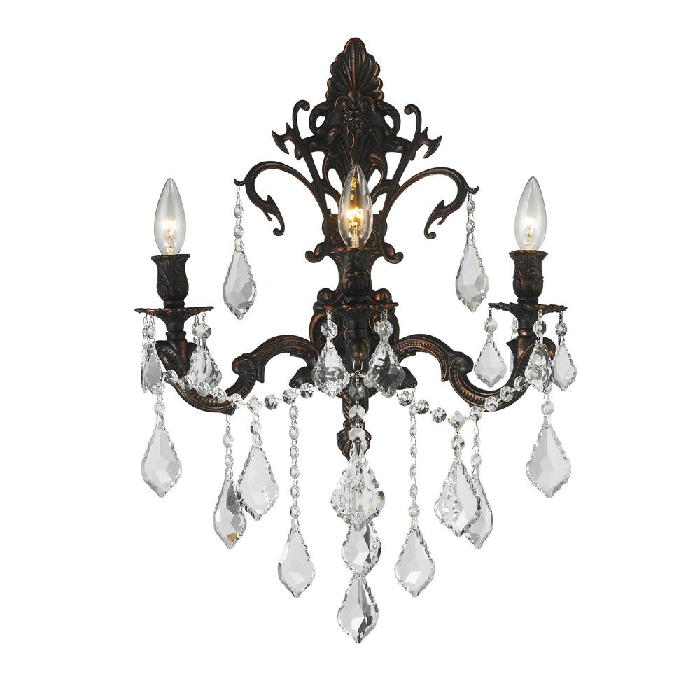 Worldwide Lighting Versailles Collection 3 Light Flemish Br Sconce With Clear Crystal