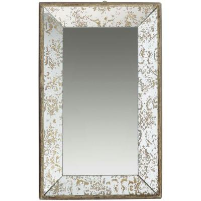 20 in. x 12 in. Decorative Mirror Tray in Rustic Brown