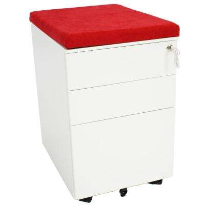 Rolling White File Cabinet with Lock and Red Cushion