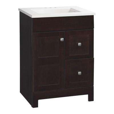 Artisan 24.5 in. W Bath Vanity in Java with Cultured Marble Vanity Top in White with White Sink