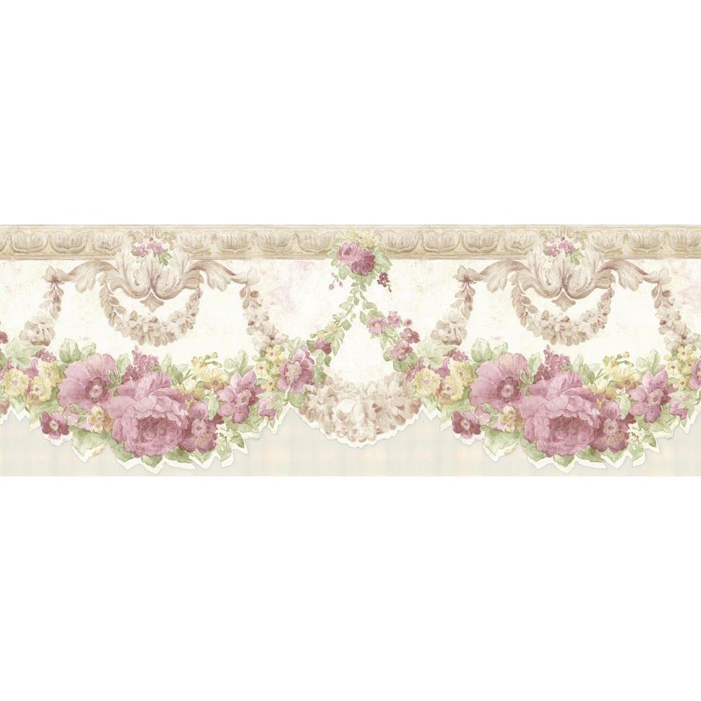 Marianne Mauve Floral Bough Wallpaper Border Sample