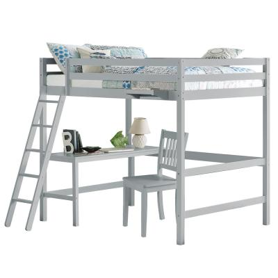 Caspian Gray Full Loft With Chair and Hanging Nightstand