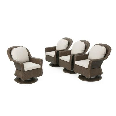 Liam Brown Swivel Wicker Outdoor Lounge Chair with Ceramic Grey Cushions (4-Pack)