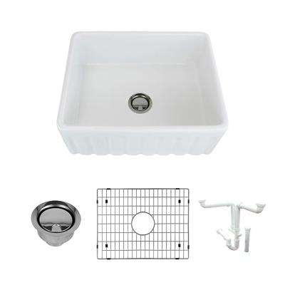 Logan All-in-One Farmhouse/Apron-Front Fireclay 24 in. Single Bowl Kitchen Sink in White