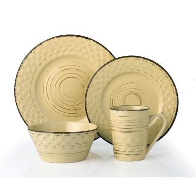 16-Piece Casual Buttercup Stoneware Dinnerware Set (Service for 4)