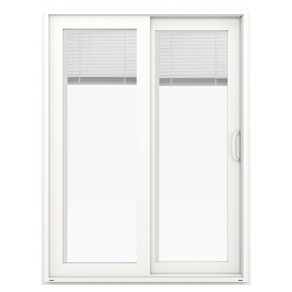 Jeld Wen 60 In X 80 In V 4500 White Vinyl Right Hand Full Lite Sliding Patio Door W Blinds