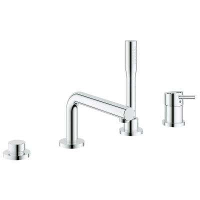 Concetto Single Handle Deck-Mount Roman Tub Filler with Personal Hand Shower in StarLight Chrome