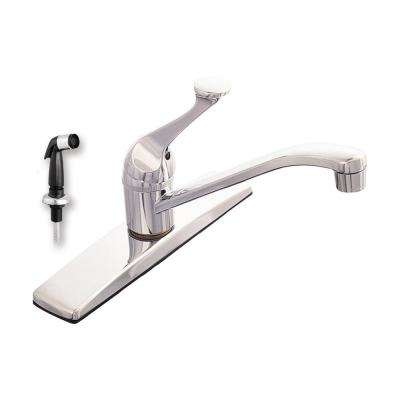 Traditional Collection Single-Handle Standard Kitchen Faucet with Black Side Sprayer in Chrome