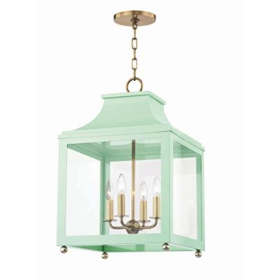 Leigh 4-Light 16 in. W Aged Brass/Mint Pendant with Clear Glass Panel