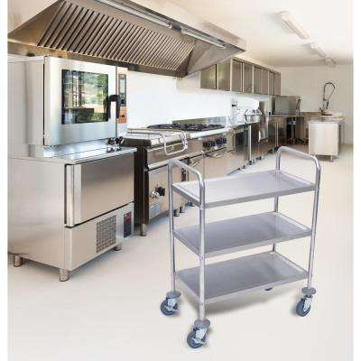 26 in. x 16 in. 3-Shelf Stainless Steel Cart in Silver