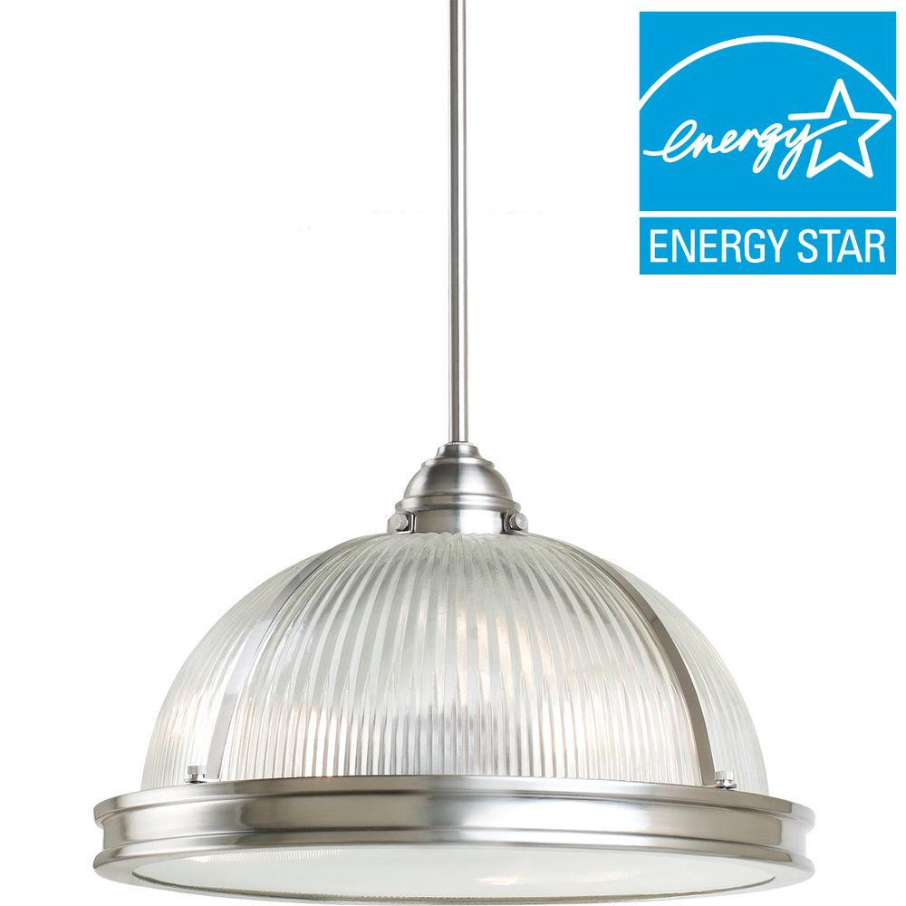 Sea Gull Lighting Pratt Street Prismatic 3-Light Brushed Nickel Pendant