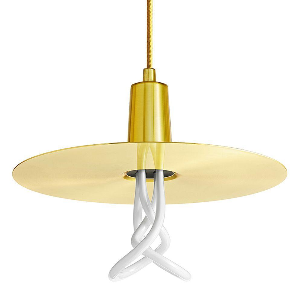 1-Light Brushed Brass CFL Indoor Drop Hat Shade