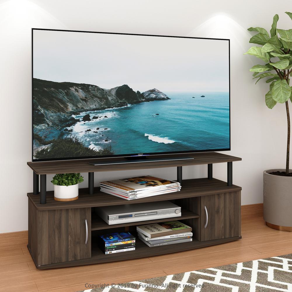 Walnut Tv Stands Living Room Furniture The Home Depot