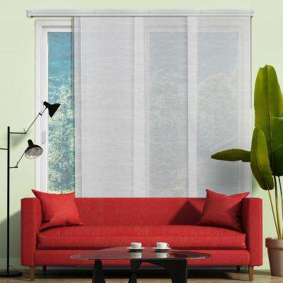 Deluxe Adjustable Sliding Panel / Cut to Length, Curtain Drape Vertical Blind, Sheer, See Through - Veil White