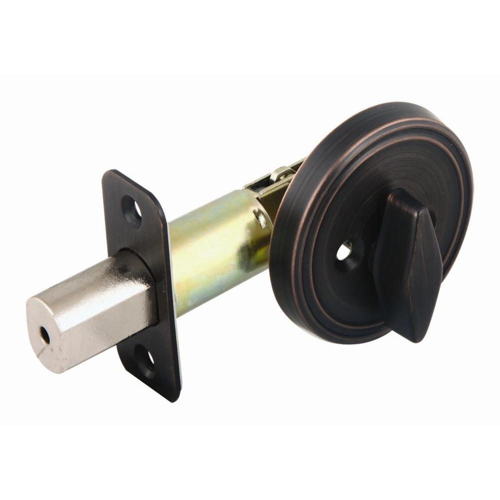 Design House Brushed Bronze 2-3/8 in. Backset Single Sided Deadbolt with Turn-Button Interior