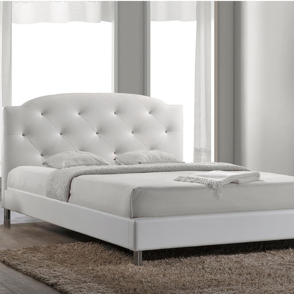 Baxton Studio Canterbury White Queen Upholstered Bed 28862 5558 Hd The Home Depot