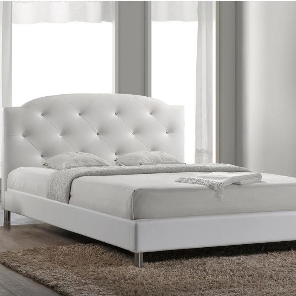 08c79283f7 Baxton Studio Canterbury White Queen Upholstered Bed 28862-5558-HD - The Home  Depot