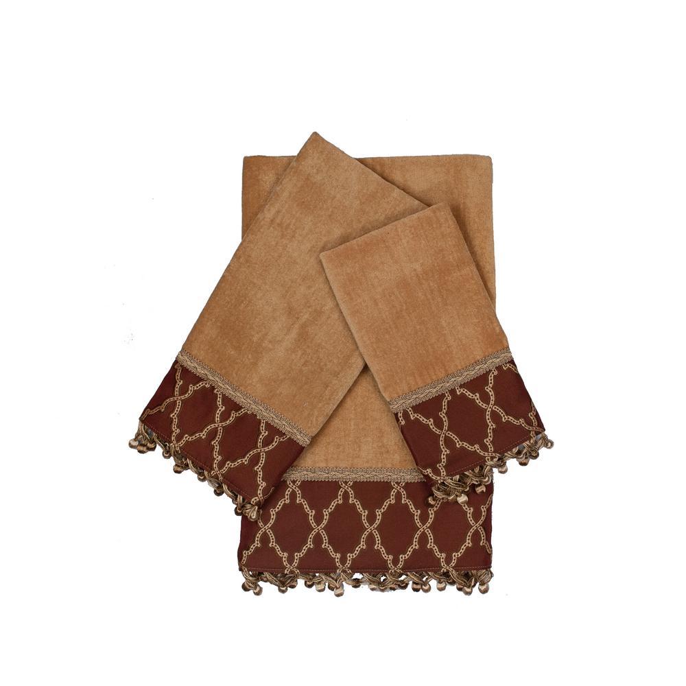 Somerset Gold Decorative Embellished Towel Set (3-Piece)