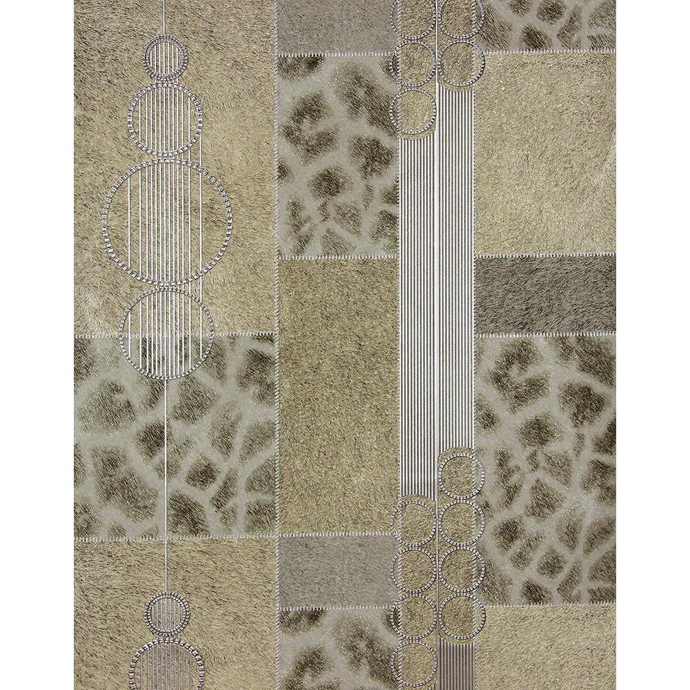 57.8 sq. ft. Serengeti Taupe Patchwork Wallpaper