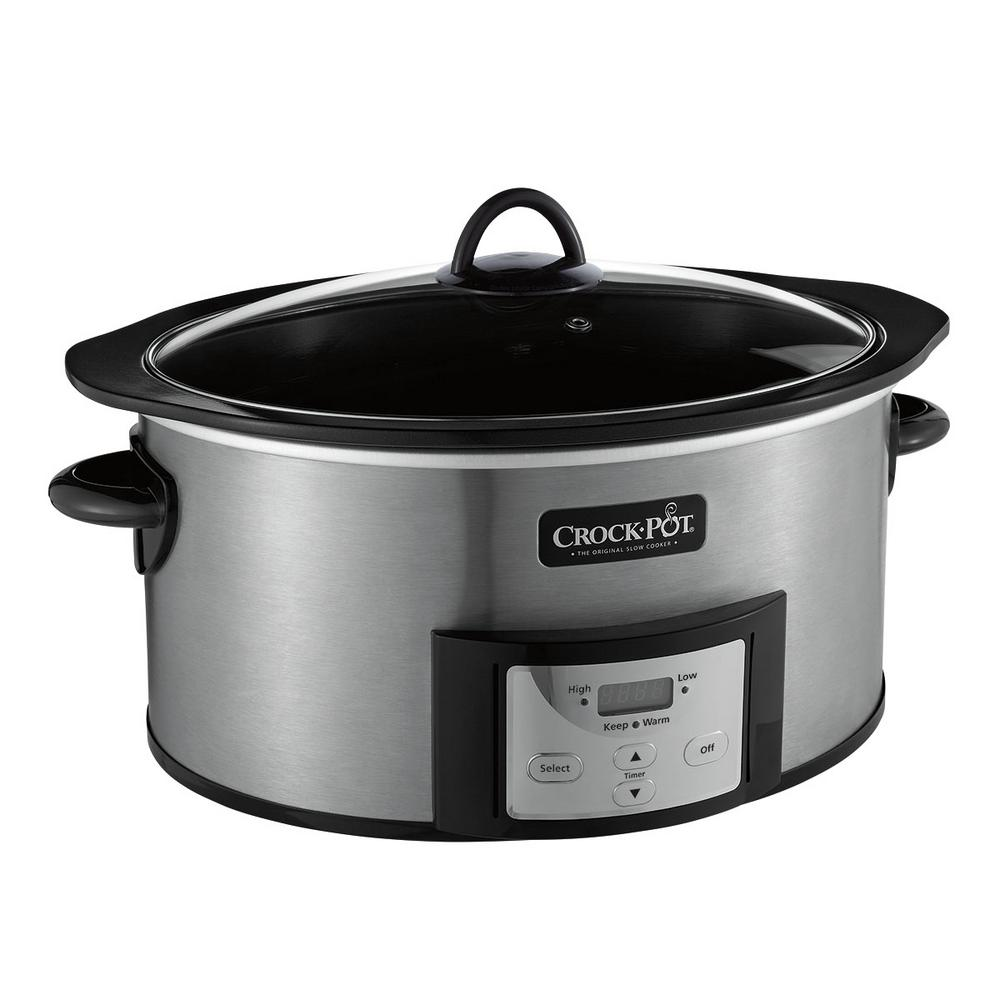 6 Qt. Slow Cooker with Stovetop Safe Cooking Pot, Black Stainless Because many slow cooker recipes require a two-step process - browning and searing meat on the stovetop before slow cooking to seal in flavors - often times you end up with more than one dirty pot to scrub clean. For the ultimate one-pot solution, the Crock-Pot brand has designed a stovetop-safe pot that moves from stovetop to slow cooker in one smooth move. Sear then slow-cook-sear meat for a crispy outside and juicy flavor inside. Saute onions and peppers before adding to soup. With the slow cooker's double-duty removable cooking pot, you can brown, sear, or saute ingredients directly on the stovetop before placing the pot into the slow cooker to finish cooking. No need to dirty unnecessary extra pots or pans along the way. Color: Black Stainless.