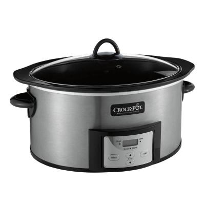152498e3932f 6 Qt. Black Stainless Steel Slow Cooker with Stovetop Safe Cooking Pot