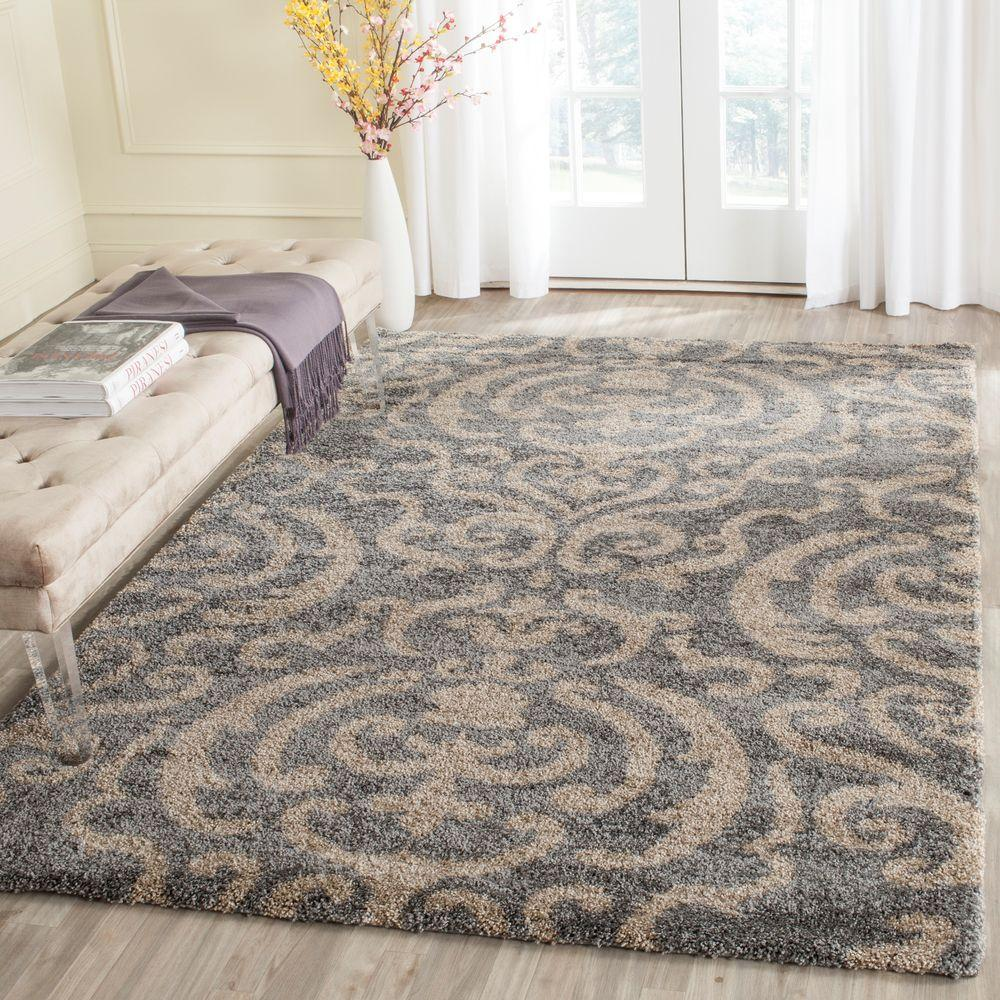 Safavieh Florida Shag Gray/Beige 8 Ft. 6 In. X 12 Ft. Area