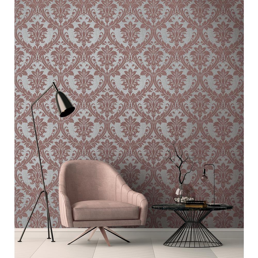 Clelia Maroon Damask Wallpaper Sample