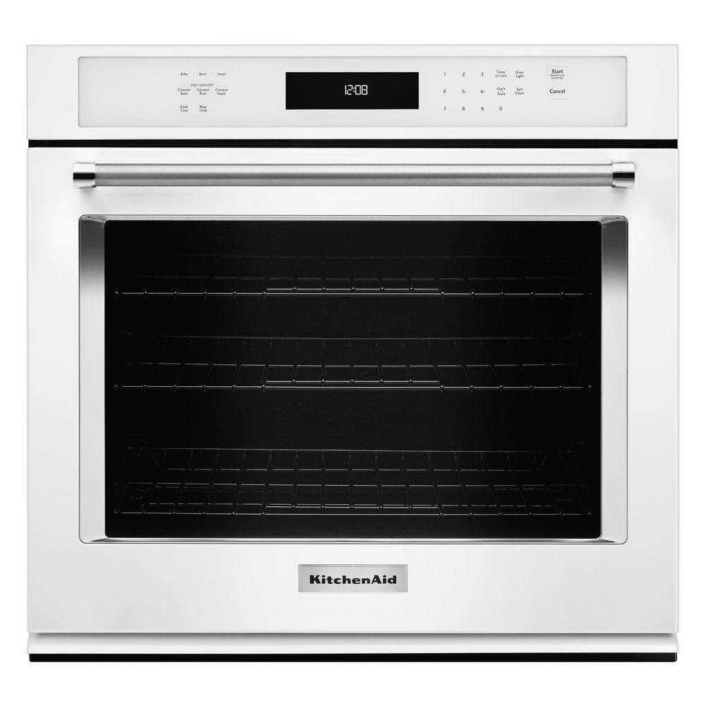 Beau KitchenAid 27 In. Single Electric Wall Oven Self Cleaning With Convection  In White