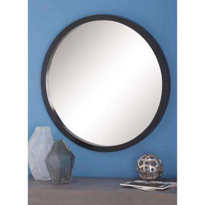 32 in. Modern Round Framed Wall Mirror in Black