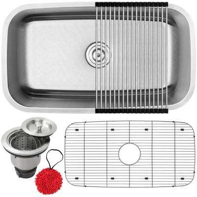 Haven Undermount 16-Gauge Stainless Steel 31.5 in. Single Basin Kitchen Sink with Accessory Kit